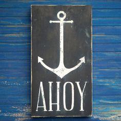 AHOY Anchor Sign Nautical Beach Decor Anchor Box Wall Art Welcome Sign on Etsy, $49.00