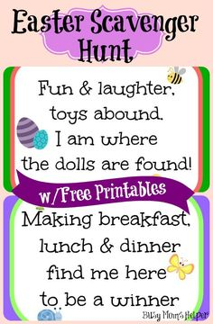 A fun and cute rhyming Easter Scavenger Hunt with Free Printables! Easter Craft Activities, Easter Games, Easter Crafts, Easter Ideas, Easter Decor, Easter Holidays, Holidays With Kids, Easter Printables, Free Printables