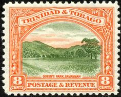 "Trinidad & Tobago  1935 Scott 38 8¢ red orange & yellow green ""Queen's Park, Savannah"""