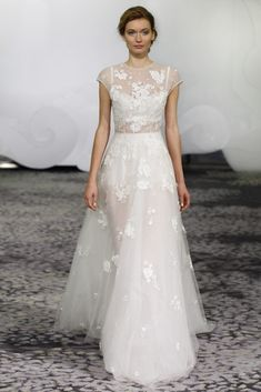 Rivini Inara Illusion Organza and tulle a line gown with  Chantilly lace applique and flower detail through out