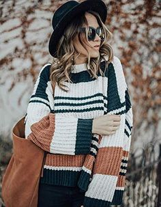 ZESICA Crew Neck Striped Color Block Casual Loose Knitted Pullover Sweater Tops , Acrylic lightweight but keep you warm. Chunky Sweater Outfit, Cute Cardigan Outfits, Winter Sweater Outfits, Fall Winter Outfits, Legging Outfits, Winter Cardigan, Fall Fashion Outfits, Casual Fall Outfits, Fashion Hats