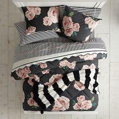 The Emily & Meritt Bed of Roses Black & Blush Duvet Dorm Bundle Floral Bedding, Linen Bedding, Bedding Sets, Bed Linens, Dorm Bedding, Bohemian Bedding, Crib Sets, Black Bedding, Girls Bedroom