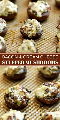 Bacon and Cream Cheese Stuffed Mushrooms are a must on any party menu! Loaded with creamy and smoky flavors, these delicious mushroom bites are seriously addicting! Mushroom Appetizers, Bacon Appetizers, Tailgate Appetizers, Appetizers For Party, Appetizer Recipes, Seafood Recipes, Spanish Appetizers, Gluten Free Appetizers, Delicious Appetizers