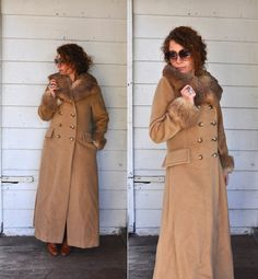 70s Camel Brown Wool Long Coat Fur Collar & by LaDeaDeiSogni, $98.00