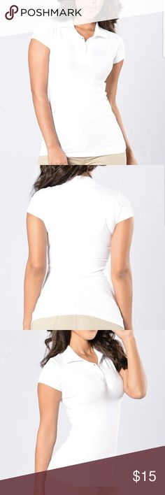 "FASHION NOVA ROSIO Basic White Polo Shirt NEW WITH OUT TAG This Short Sleeve Collar Uniform Polo Top has great stretch.  Cotton/Spandex Model is wearing size Large (It runs small) Amp2Amp:18"" Length:28"" Waist:17"" Fashion Nova Tops"