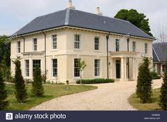 Stock Photo - New build large Georgian style detached house in Avebury. Georgian Style Homes, Georgian Mansion, Two Story House Design, Country House Design, Rendered Houses, Country Home Exteriors, Colonial House Plans, Georgian Architecture, English House