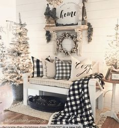 Applying Wooden Planks Correctly To Make Rustic Winter Home Decoration winter home decor Applying Wooden Planks Correctly To Make Rustic Winter Home Decoration Farmhouse Christmas Decor, Country Christmas, Tv Stand Christmas Decor, Buffalo Check Christmas Decor, Plaid Christmas, Christmas Home, White Christmas, Xmas, Christmas Crafts