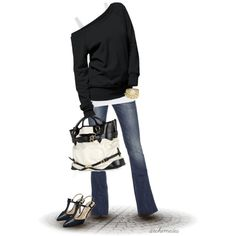 """Black & white always """"glam"""" up an outfit. Effortless chic made easy:)"""