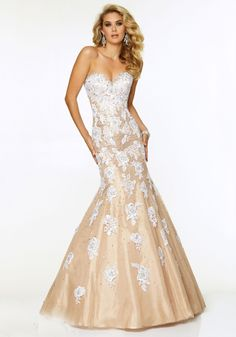 Sweetheart Tulle Lace Up Trumpet/Mermaid White Prom Dress Opdpa0003