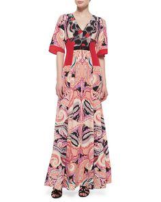 W04QL Etro Paisley-Print Silk Gown w/Bead Detail