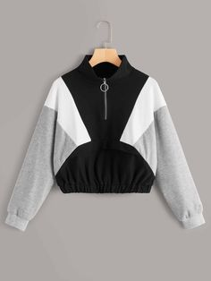 Cut And Sew Ring-zip Up Neck Sweatshirt