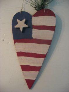 american flag heart wood ornament