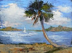 Florida Landscape Tropical Painting  Daily by CarolSchiffStudio, $97.95
