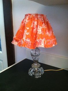 Vintage glass lamp with orange and pink toile by KatieQuinnDesigns, $42.00