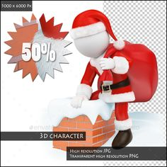 3D White People. Santa Claus Coming Down a Chimney — Transparent PNG #red #costume • Available here → https://graphicriver.net/item/3d-white-people-santa-claus-coming-down-a-chimney/13395368?ref=pxcr