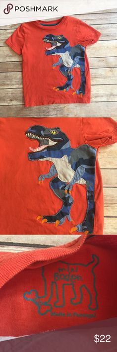 Mini Boden dinosaur shirt Size 2/3 hard to find Mini Boden dinosaur in very good used condition.  Minor wash wear on the appliqué.  Matches the camo adventure shorts also listed.  Listing is for the shirt only. Mini Boden Shirts & Tops Tees - Short Sleeve