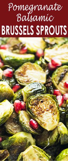 Roasted Brussels sprouts tossed with an easy pomegranate-balsamic glaze. Simple, festive side dish for Thanksgiving or any holiday meal. To make this healthier, swap out the brown sugar for coconut sugar. Side Dish Recipes, Vegetable Recipes, Vegetarian Recipes, Tostadas, Granada, Balsamic Glaze Recipes, Fruits And Veggies, Vegetables, Simply Recipes