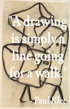 """A drawing is simply a line going for a walk."" - Paul Klee #artquote"