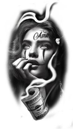 Face Tattoos For Men, Girl Face Tattoo, Leg Tattoo Men, Girl Tattoos, Tattoos For Guys, Catrina Tattoo, Clown Tattoo, Angel Tattoo Designs, Tattoo Sleeve Designs