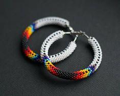 Native American Inspired Hoops, Navajo Inspired Hoop Earrings, Ethnic Earrings, Bead Crochet Earrings, Patchwork Earrings, Colorful Earrings