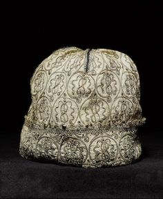 A late 16th/early 17th century blackwork cap with later restoration. Auction 15297, Lot 117, Bonhams.