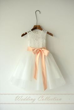 Shop affordable Ivory Lace Organza Flower Girl Dress With Peach Sash and Bow at June Bridals! Over 8000 Chic wedding, bridesmaid, prom dresses & more are on hot sale. Peach Flower Girl Dress, Tulle Flower Girl, Organza Flowers, Flower Girl Dresses Beach, Flower Diy, Junior Bridesmaid Dresses, Bridesmaid Flowers, Bridesmaids, Girls Dresses