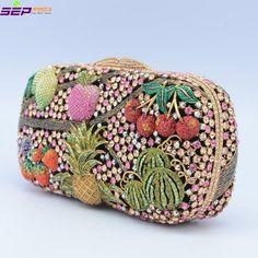 Seperwar Cherry Apple Pineapple Fruit Bag Clutch Crystals