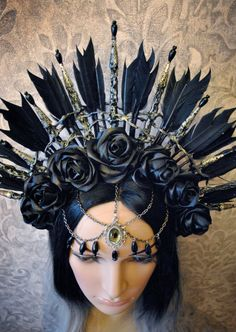 Gothic headpiece - tribal headpiece - crown with black roses - feather headpiece…: Feather Headpiece, Headdress, Feather Crown, Chain Headpiece, Feather Hair, Estilo Tribal, Mode Costume, Fantasy Costumes, Tiaras And Crowns