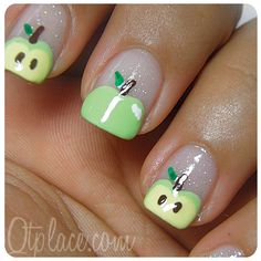 Oh my gosh, I love these! Apple nail art tutorial | Qtplace