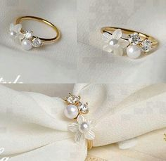 Flower Pearl Ring sooo beautiful, what I want! Pearl Ring, Pearl Earrings, Gold Ring, Jewelry Box, Jewelery, Jewellery Rings, Napkin Folding, Decoration Table, Fashion Books
