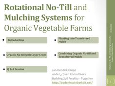 eOrganic - Jan-Hendrik Cropp - Interesting mulching options and equipment for planting in mulch. Useful methods for extremely cold environments where growing mulch in place is never an option since there is only one growing season. Organic Mulch, Organic Gardening, Gardening Tips, Vegetable Farming, Vegetable Garden Tips, No Till Garden, Organic Weed Control, Natural Farming, Sustainable Farming
