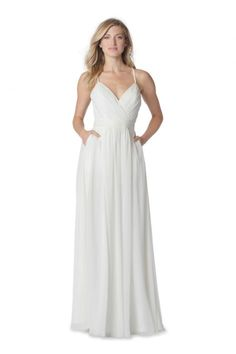 Bari Jay Whites 2060 V Neck Destination Wedding Dress