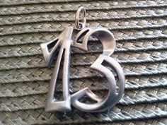 Your Lucky Day Monogram Letters 1 Numbers 13 Pewter Charm All New Lucky Day, Monogram Letters, Pewter, Washer Necklace, Initials, Numbers, Charmed, Jewels, 3d