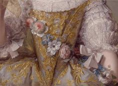 detail of the dress from the painting  Madame Sophie de France  (1734–1782), daughter of Louis XV, in a court dress and holding her veil, by Jean-Marc Nattier, (1748)