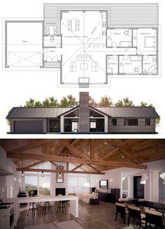 House Plans in Modern Architecture. New House Plans, Modern House Plans, Small House Plans, House Floor Plans, Modern Farmhouse Plans, Ranch Style Homes, Home Design Plans, House Layouts, Planer