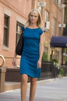 Some great work outfits in the film What Happens in Vegas! LOVE this blue dress!