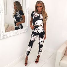 916e0d87df8 Quit You Monochrome Floral Printed Jumpsuit - 8. Pink Boutique UK