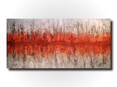 Original Large Abstract painting - 24 X 48 Inches-by Artist JMJartstudio-Unchanged-Wall art-wall decor - Gray- orange painting-Oil painting
