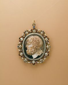 Pendant with a Head of Jupiter Date: 19th century Culture: European Medium: Agate cameo with an enameled gold mount set with diamonds