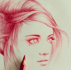 Red colored pencil sketch - by Rik Lee (@rikleeillustration)