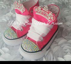 5987918fab3ece Custom Swarovski Crystal Rhinestone Custom Converse Shoes - Princess  Birthday - Princess Converse Sh. DiamantesPersonalizarNenaCristalesFiestasZapatos  ...