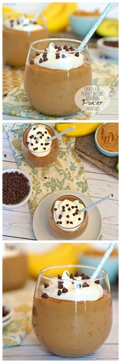 Chocolate Peanut Butter Banana Power Smoothie made with AVOCADO!! YUM! Perfect for breakfast or for before workouts! #healthy #smoothie #yum