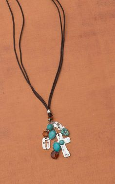 Turquoise Cross with Leather Necklace