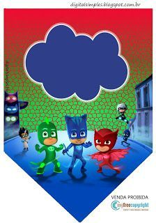 "Kit Digital Free Aniversário ""PJ Masks"" - Convites Digitais Simples"