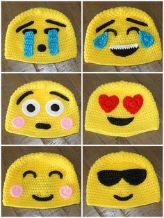 "Gotta make em! ""Emoji Crochet Hats - Handmade to Order - Newborn to Adult"", "" Gotta make em!"", ""Since i have leftover yellow yarn ! Crochet Kids Hats, Crochet Beanie, Baby Blanket Crochet, Crochet Crafts, Crochet Projects, Knitted Hats, Knit Crochet, Free Crochet, Crochet Character Hats"