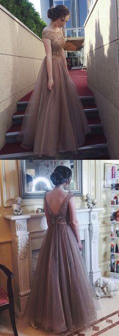 elegant bateau tulle prom dress with beading, fashion open back tulle party dress with beading