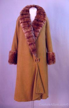 Vintage 20s Coat Art Deco Flapper Fur Trim Small bust 38 at Couture Allure Vintage Clothing