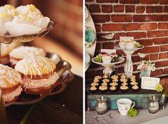 vintage tea party    I like the distressed cake stands.  Easy..