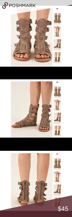 "NOT RATED GLADIATOR SANDALS Cute sandals that have a basket weave upper in faux leather and an easy buckle closure.  Heel: (measured from the back) .5"" Not Rated Shoes Sandals"