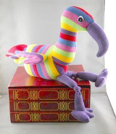 Sock bird, sock animal, stuffed toy, soft sculpture, Quark. $25.00, via Etsy.